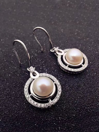 Fashion Freshwater Pearl Round Stud hook earring