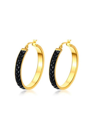 Exquisite Gold Plated Artificial Leather Titanium Clip Earrings