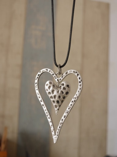 Antique Silver Plated Heart Shaped Necklace