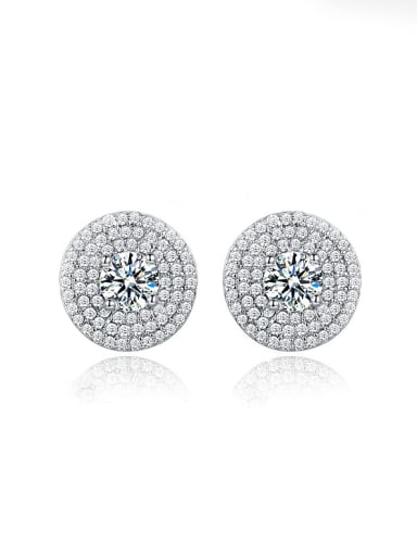 Round-shaped Zircon stud Earring