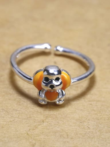 Personalized Puppy Dog Glue 925 Silver Opening Ring