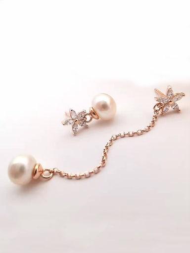 Freshwater Pearl Asymmetrical Flower threader earring