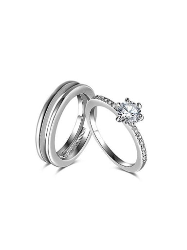 White Gold Plated Round Shaped Zircon Ring Set