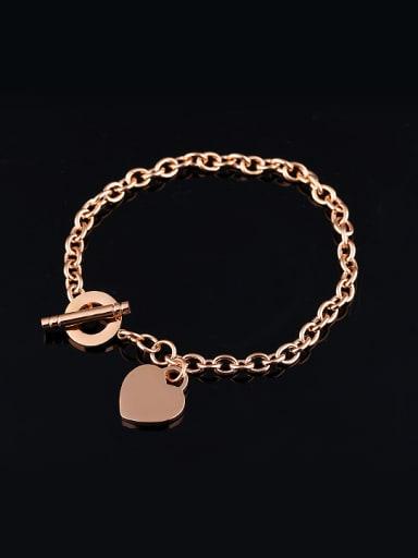 Simple Rose Gold Plated Heart Titanium Bracelet