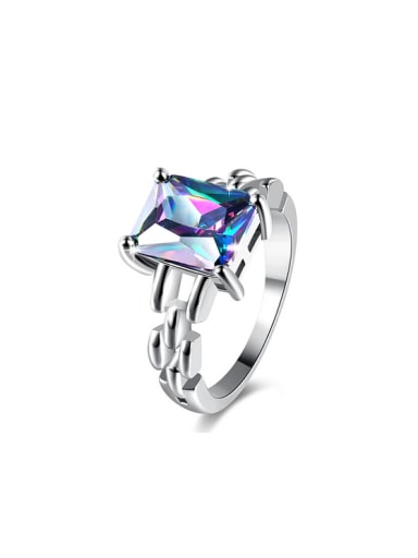 Delicate Colorful Square Shaped Glass Stone Ring