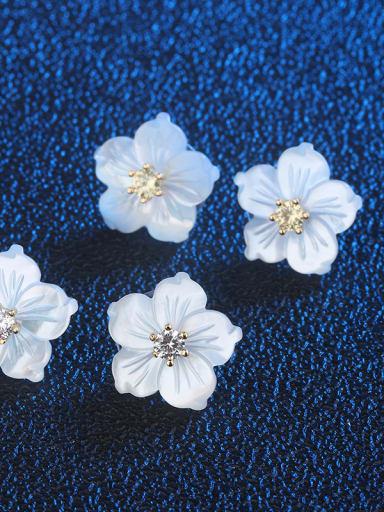 Copper With  Shell Cute Flower Stud Earrings