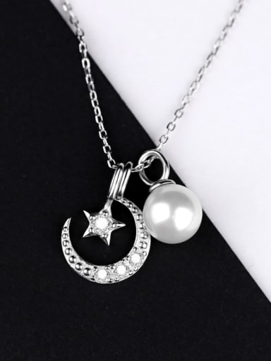 Freshwater Pearl Moon Star Necklace