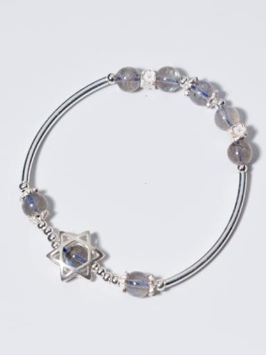 Ethnic Style Star Shaped Stone S925 Silver Bracelet