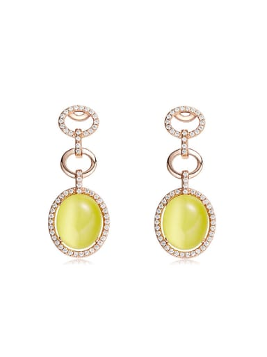 Fashion Yellow Opal Stone Cubic Zirconias 925 Silver Stud Earrings