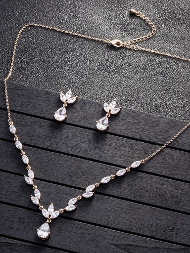 Copper inlay AAA zircon shine earrings necklace 2 pieces jewelry set
