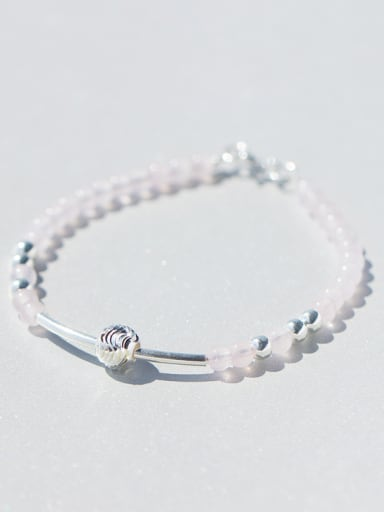 Fresh Geometric Shaped Pink Crystals S925 Silver Bracelet