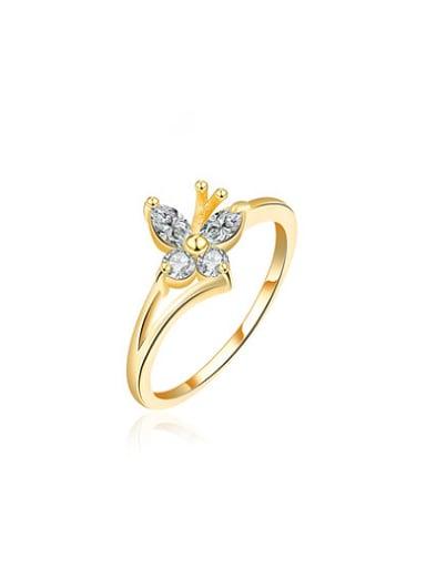 Elegant Flower Shaped Austria Crystal Ring
