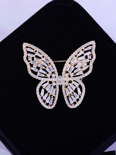 Copper With  Cubic Zirconia Delicate Butterfly Brooches