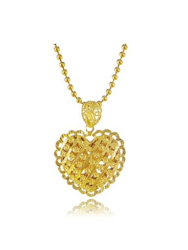 All-match 24K Gold Plated Hollow Heart Shaped Necklace
