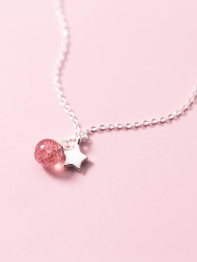 Pure silver sweet Star Pink Bead small Necklace