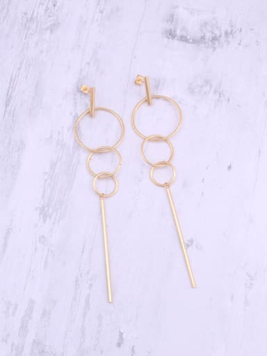 Titanium With Rose Gold Plated Simplistic Round Threader Earrings