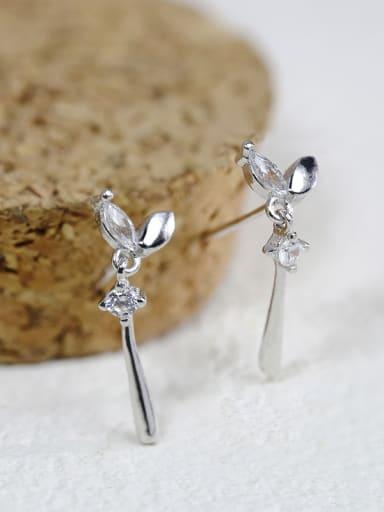 Simple 925 Silver Rhinestones Growing Grass Stud Earrings
