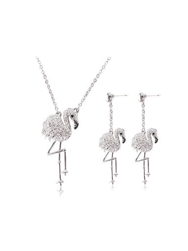 Alloy White Gold Plated Fashion Swan Rhinestones Two Pieces Jewelry Set