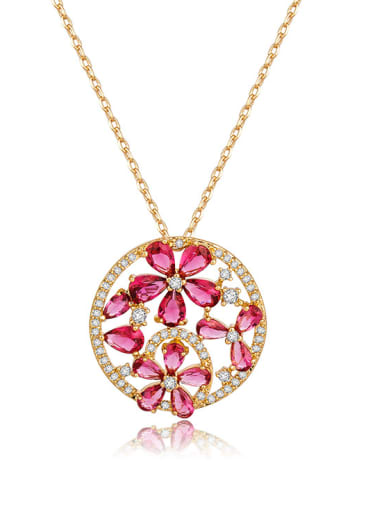 Copper inlaid AAA zircon Champagne-Gold Flower Necklace
