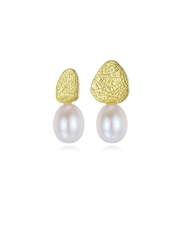 925 Sterling Silver With Artificial Pearl  Simplistic Geometric Drop Earrings