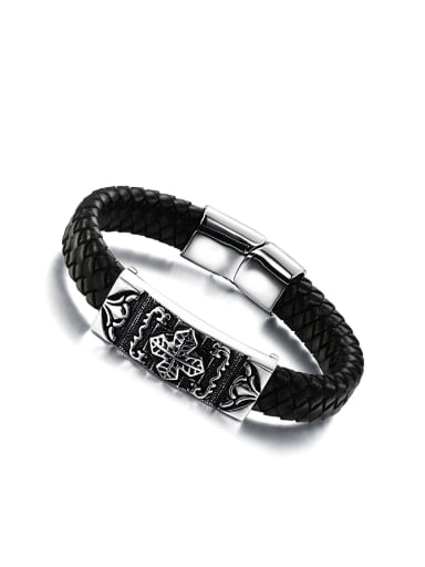 Personalized Little Cross Black Artificial Leather Men Bracelet