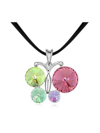 Personalized Cubic Swarovski Crystals Butterfly Pendant Alloy Necklace