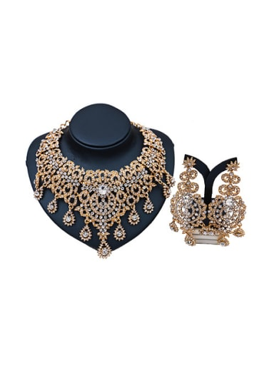 Statement-making Glass Rhinestones Two Pieces Jewelry Set
