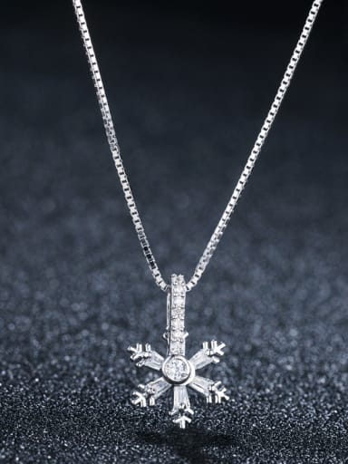 925 Sterling Silver With Platinum Plated Cute snowflake Necklaces