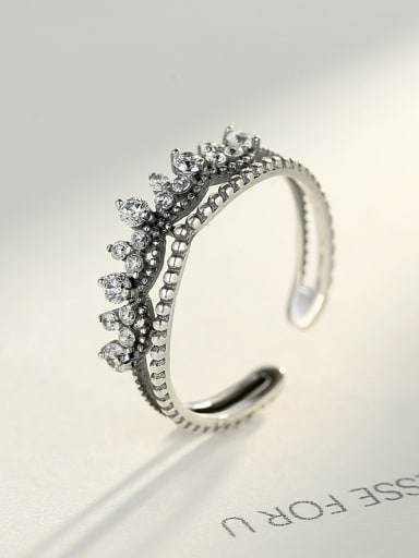 925 Sterling Silver With Antique Silver Plated Vintage Free size Rings