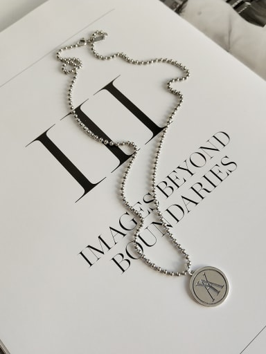 Sterling silver retro round letter YA necklace