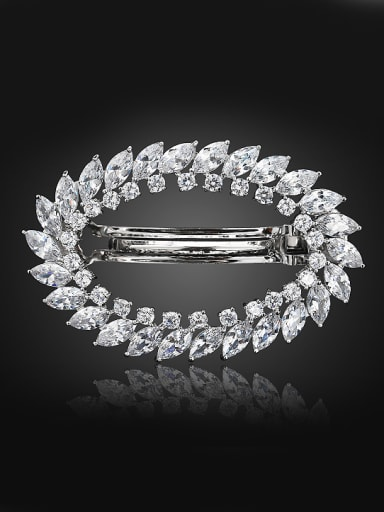 Fashion White Shiny Zirconias Copper Hairpin