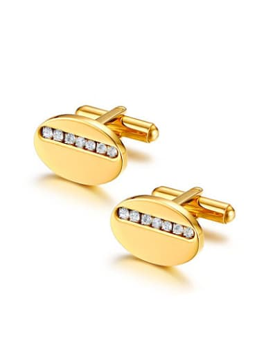 Luxury Gold Plated Oval Shaped Rhinestone Titanium Cufflinks