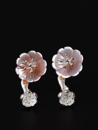 Pink Flower Shaped stud Earring