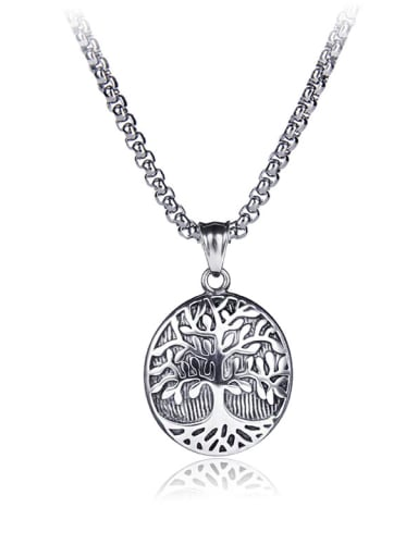 Stainless Steel With Antique silver plated Trendy Oval life tree Necklaces