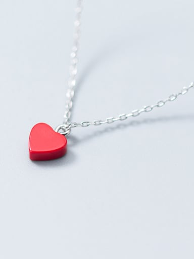 All-match Red Heart Shaped S925 Silver Necklace