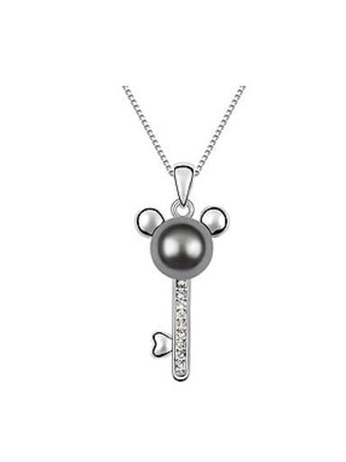 Fashion Imitation Pearl Mickey Key Alloy Necklace