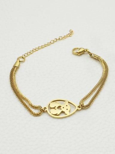 Fashion Bear Hollow Double Lines Bracelet