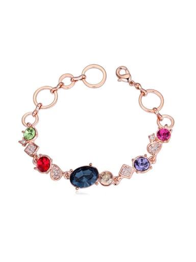Fashion Shiny Swarovski Crystals Rose Gold Plated Bracelet