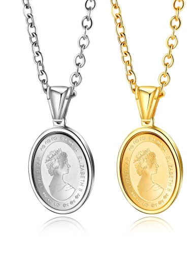 Stainless Steel With Gold Plated Simplistic coin Round Necklaces