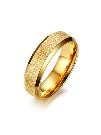 Trendy Gold Plated Frosted Titanium Women Ring