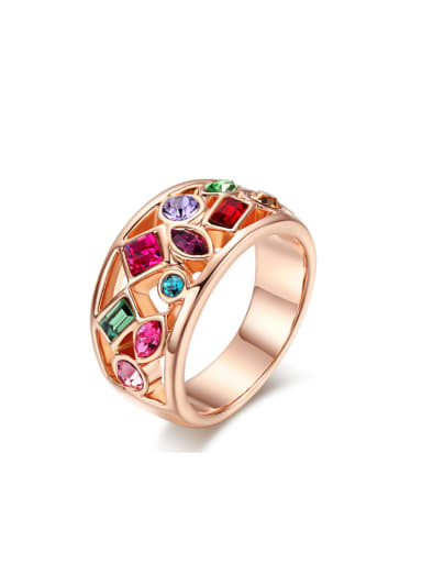 Colorful Zircons Retro Style Plating Ring