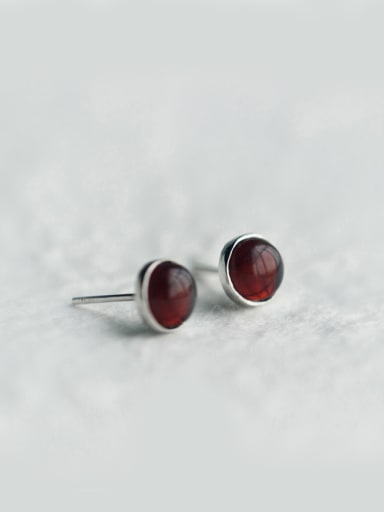 S925 Silver  Minimalist Round Red Garnet, Grape Green Agate stud Earring