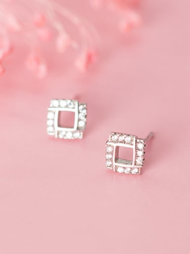 925 Sterling Silver With Platinum Plated Simplistic Hollow Square Stud Earrings