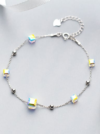 Elegant Adjustable Square Shaped S925 Silver Bracelet