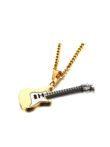 Exquisite Gold Plated High Polished Titanium Guitar Pendant