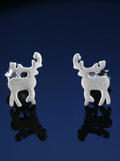 Simple Tiny Deer 925 Sterling Silver Stud Earrings