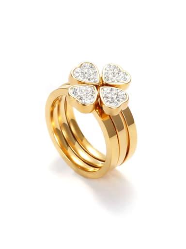 European And American Female Diamond Titanium Steel Clover  Combination Ring