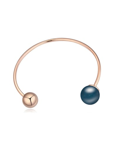 Simple Polishing Bead Imitation Pearl Alloy Opening Bangle