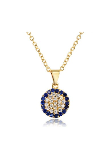 Fashionable 18K Gold Round Shaped Zircon Necklace