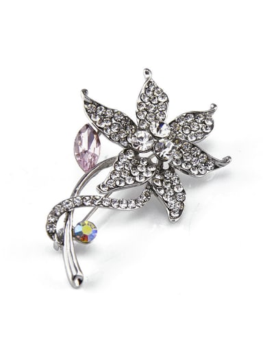 Pink Crystal Flower-shaped Brooch